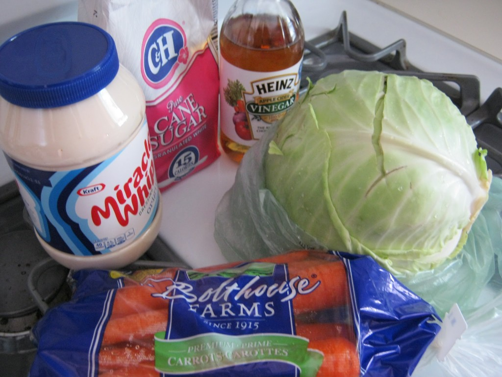 Miracle Whip, sugar, vinegar, cabbage, and carrots
