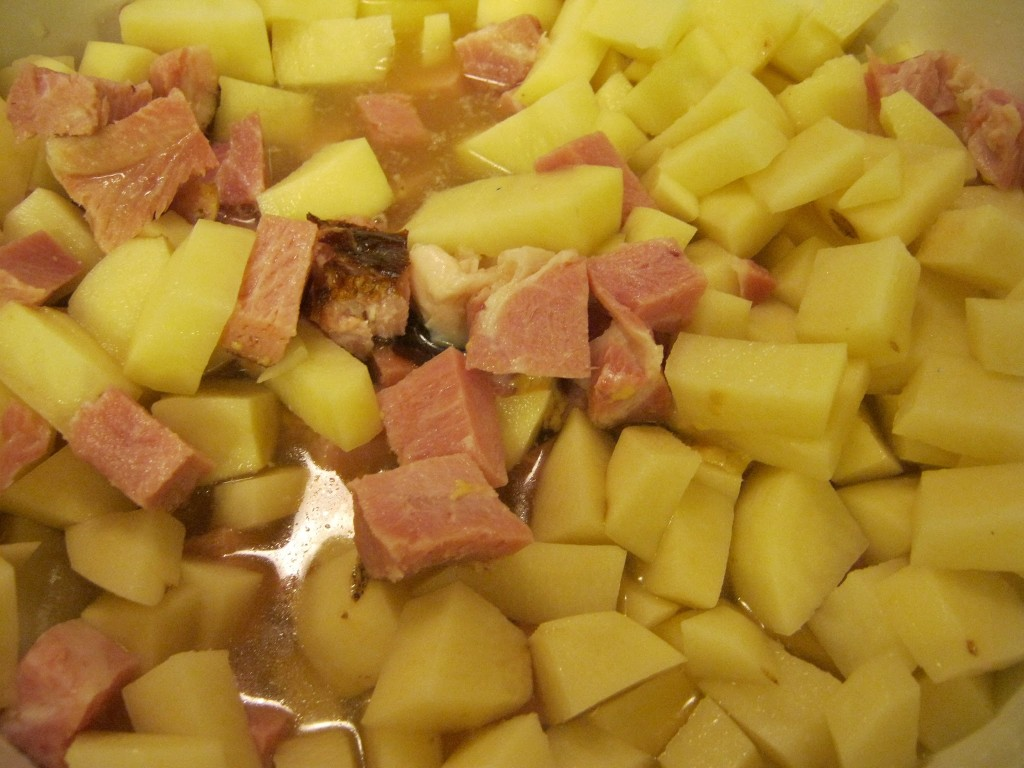 Ham and potatoes about to be cooked