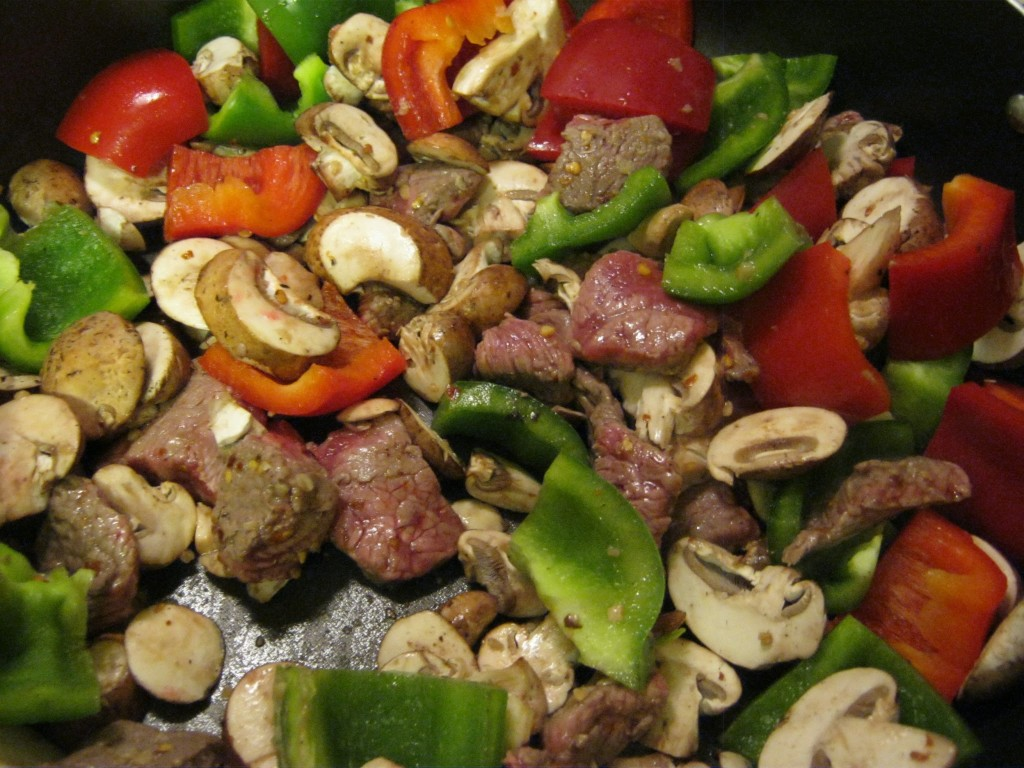 Peppers just added to beef for stir fry