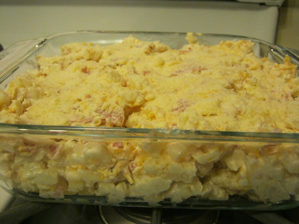Cheesy Ham and Potatoes, ready to be cooked.