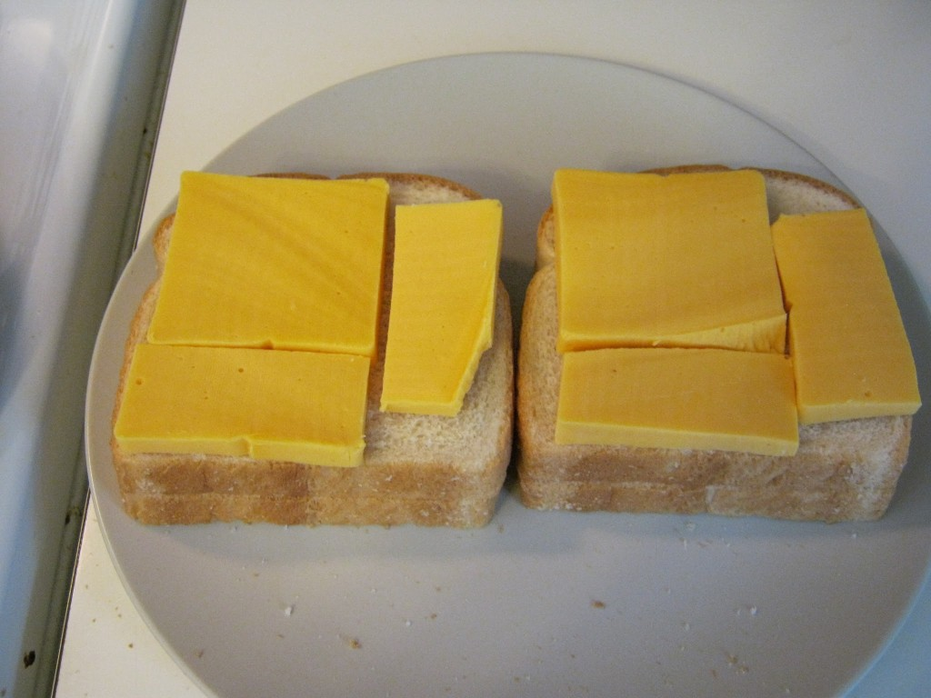 Velveeta cheese on bread