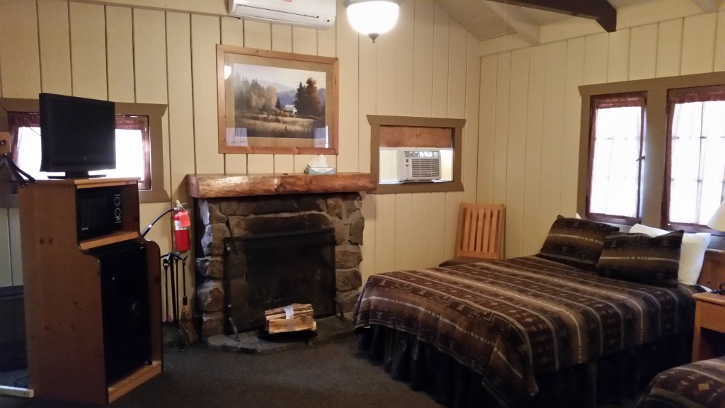 Sylvan Lake Lodge bed, fireplace, and appliances.