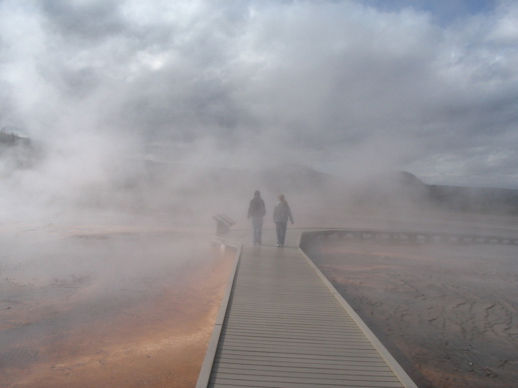 mist and a wooden walkway