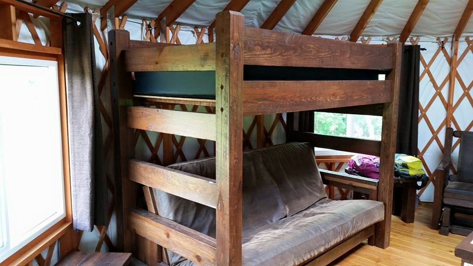 Futon and bunk in the yurt