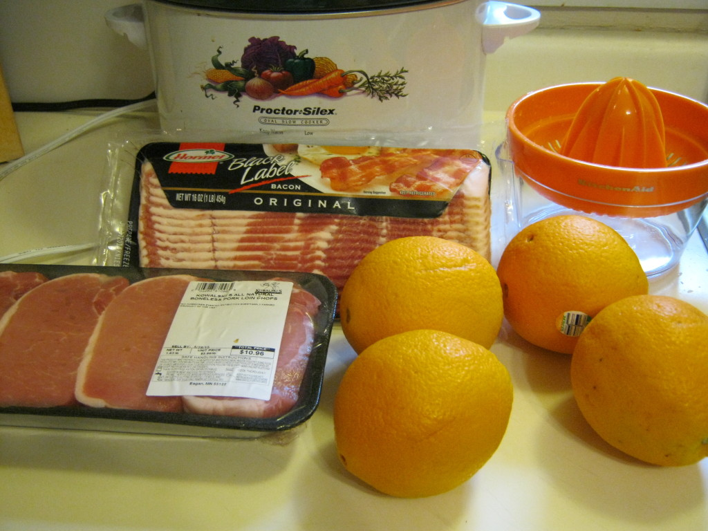 Bacon, pork chops, oranges, juicer, and Crock Pot
