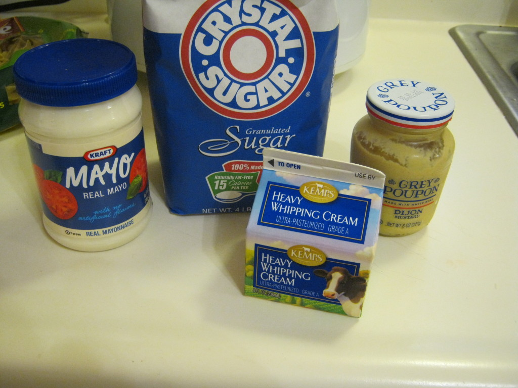 Mayo, sugar, mustard, heavy whipping cream