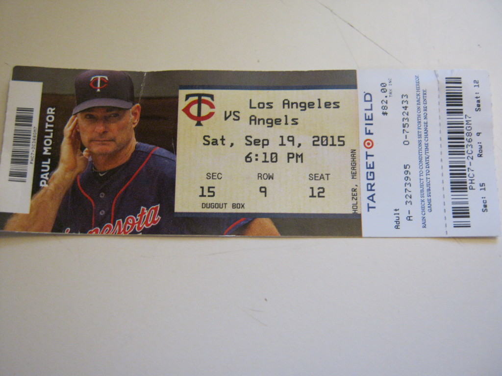 twins baseball ticket